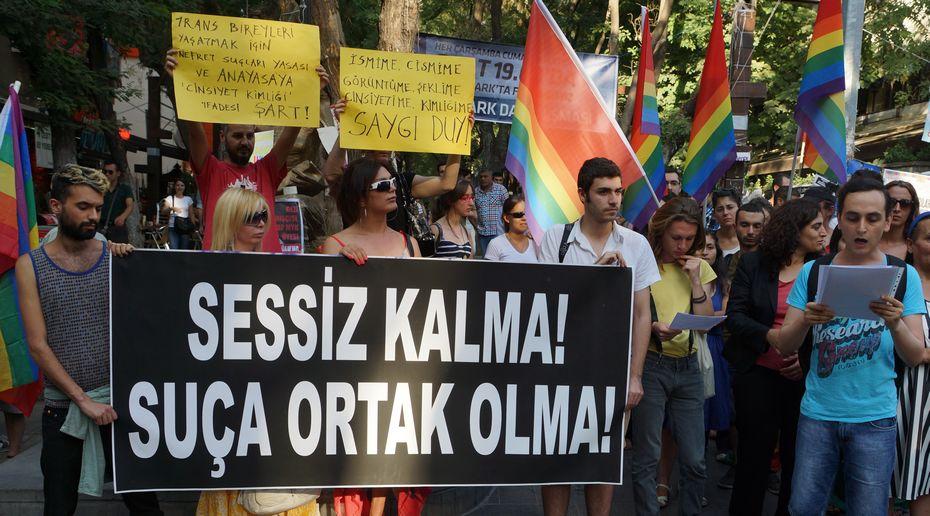 Dora'nın bir nefret cinayetine kurban gitmesinin ardından Ankara'da yapılan basın açıklamasından. Fotoğraf: Doğu Eroğlu