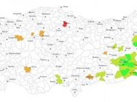 2014 yerel seçim sonuçlarına göre kadın belediye başkanlarının haritada dağılımı (açık yeşil eş başkanlar)
