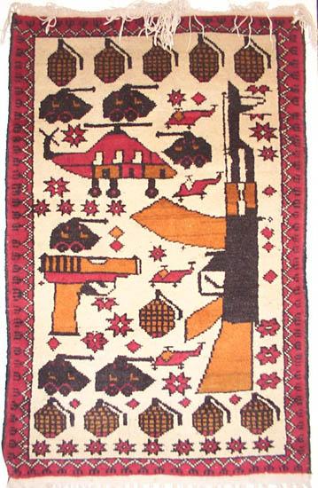 AK with Long Pistol Afghan War Rug 1995