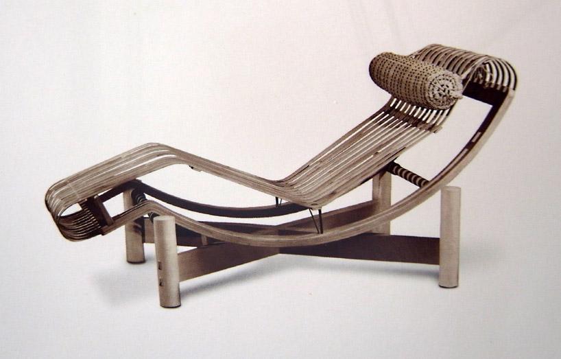 Charlotte'un B306 uzanma koltuğunu bambu malzemesiyle yaptığı modeli, 1940.