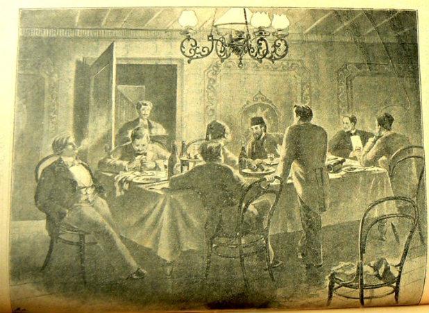 Mai ve Sİyah'ın 1896 tarihli Servet-i Fünun tefrikasında Ahmet  Cemil şiirini okurken.