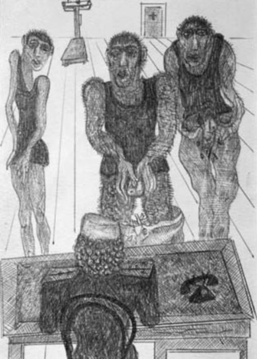 Frengi - Kaynağını Ararken (1974-77) Parajanov'un cezaevindeki tetkiklere istinaden yaptığı dolmakalem çizim.