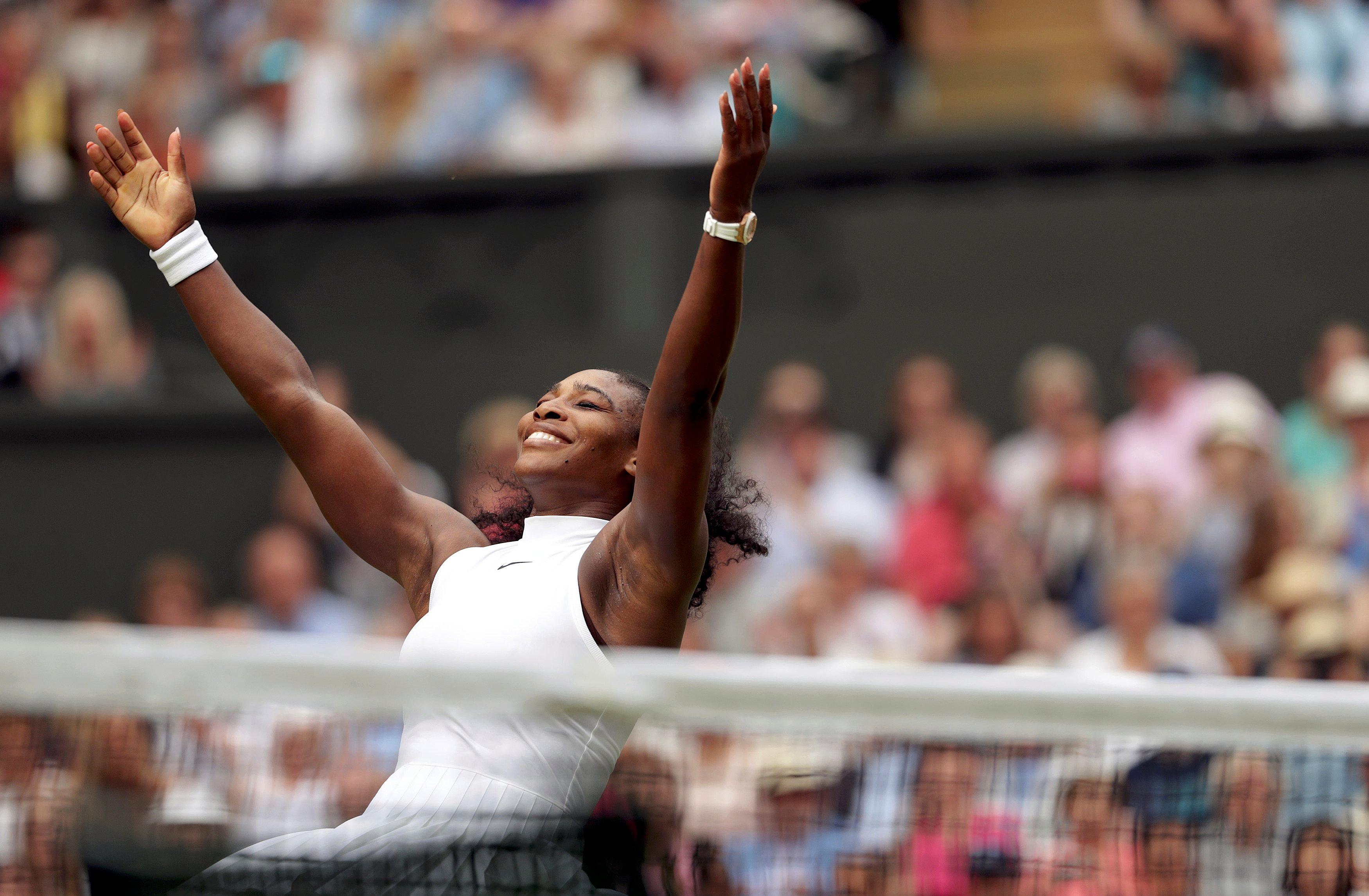 Britain Tennis - Wimbledon - All England Lawn Tennis & Croquet Club, Wimbledon, England - 9/7/16 USA's Serena Williams celebrates winning her womens singles final match against Germany's Angelique Kerber REUTERS/Adam Davy/Pool