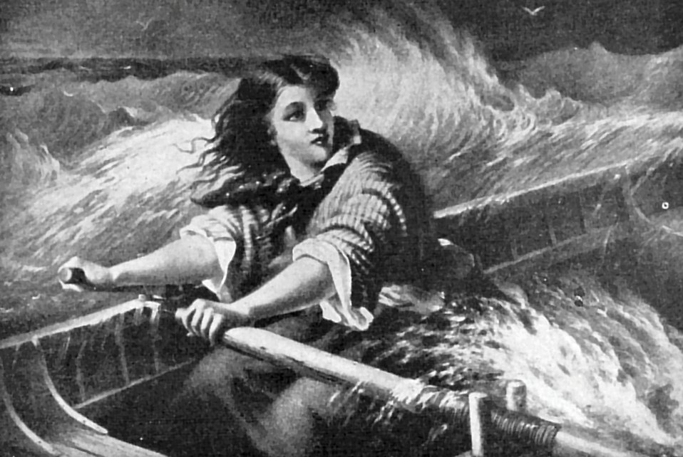 Vintage illustration of a woman rowing a boat on rough seas