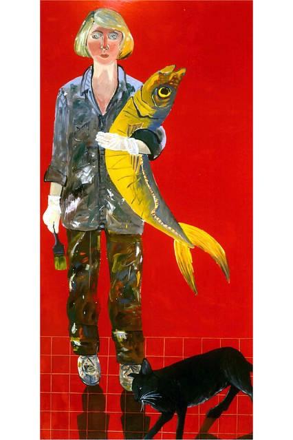 Balık ve kediyle otoportre 1970